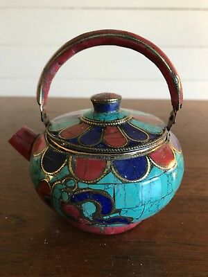 Vintage Asian Brass and Stone Inlaid Artisan Small Teapot Moroccan Malachite