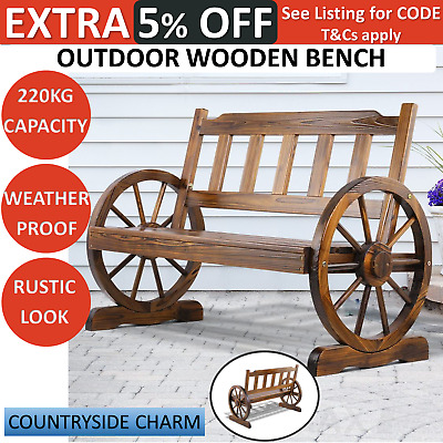 Wooden Garden Bench 2 Seater Wagon Chair Outdoor Patio Yard Rustic Look Seat