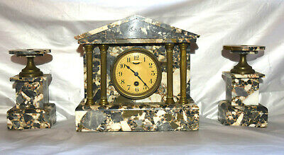 Antique Hamburg American Marble Brass Column Mantle Clock & Garnitures