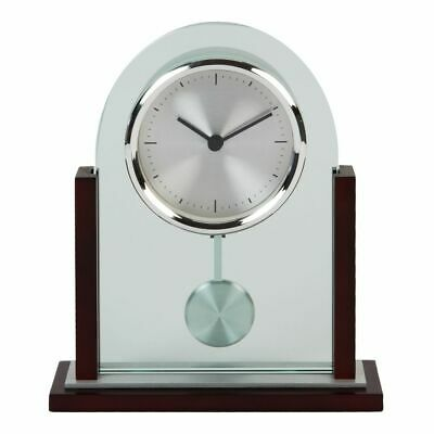 Arched Clear Glass Mahogany Wood Finish Chrome Bezel Pendulum Mantel Desk Clock