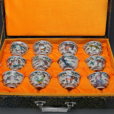 China old antique Porcelain famille rose Chinese Zodiac tea cup wine cup A Set