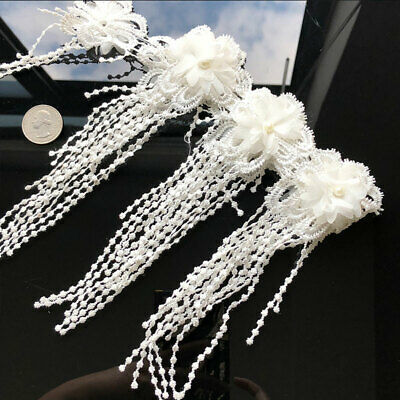 10Pcs Embroidered Pearl Tassel Lace Edge Trim Ribbon Applique Sewing Fabrick DIY