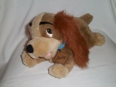 """DISNEY STORE 13"""" Plush LADY And The Tramp Pup DOG Stuffed Laying Animal Toy"""
