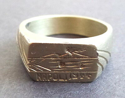 Vintage World War II Military Soldier Trench Art Mens Ring: Napoli 1944 Volcano