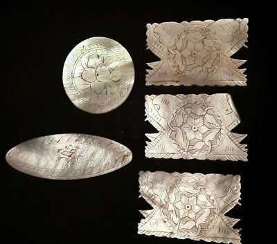 5 Antique Chinese Mother of Pearl Gaming Counters.