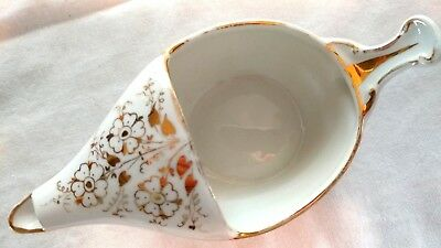 Antique 1800s French Porcelain Baby Invalid Feeder Pap Boat Ornate Gold Floral