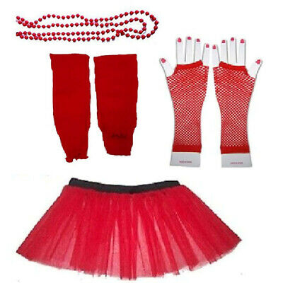 Red Tutu Gloves Legwarmers Red Nose Day Comic Relief Fancy Dress Costume Kit