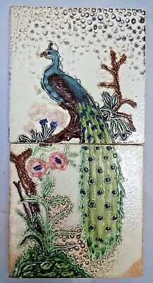 Tile Peacock On Tree Vintage Ceramic Porcelain Art Nouveau India Gwalior Old#279