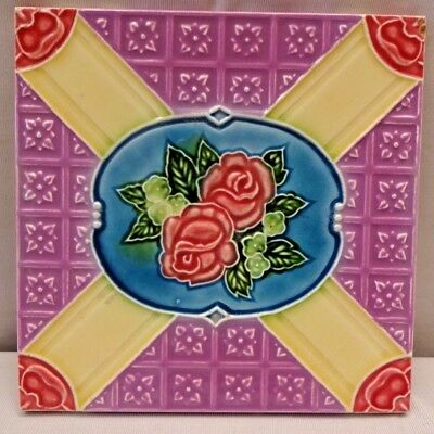 Tile Majolica Japan Dk Art Deco Style Ceramic Porcelain Flower Design Old # 220