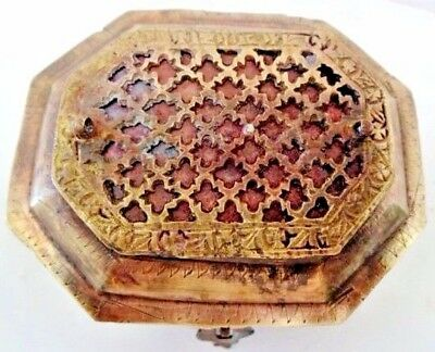 Vintage Trinket Vanity Box Kankawati Mughal Jali Work Brass And Copper Genuine