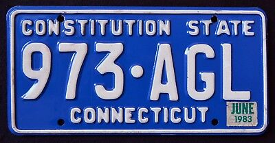 "CONNECTICUT "" CONSTITUTION STATE - BLUE "" 1983 CT Vintage Classic License Plate"