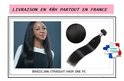 Livre En 48H Tissage Bresilien 100% Naturel Lisse Straight Virgin Hair Remy 100G