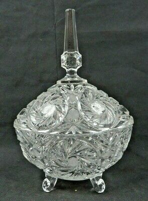 Vintage heavy Crystal cut glass footed candy dish w lid