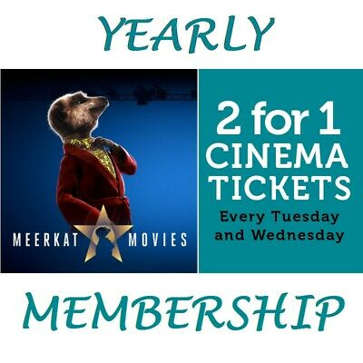 2 For 1 Cinema Tickets For a YEAR at Cineworld with Annual Meerkat Movies Pass