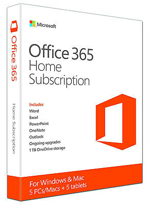 Microsoft Office 365 Home 1 Month Subscription Key | Instant | 5 Devices| PC/MAC
