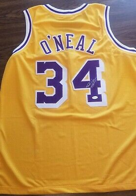 cd78e1364a3 Lakers Shaquille Shaq O neal Autographed Yellow Jersey! Jsa Authenticated