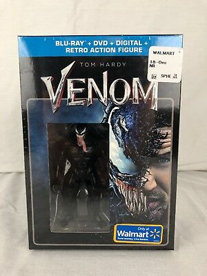 Walmart Exclusive Venom (2018, Blu-Ray, DVD, Digital & Retro Action Figure) New