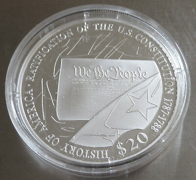 American Mint Usa Constitution .999 Silver Proof 2006 Coa Capsule .64 Troy Oz