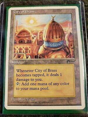 Rare Valuable Mtg City Of Brass Arabian Nights With 3 Protective Sleeves