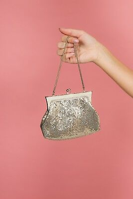 50s 60s vintage silvertone chain mail glomesh evening bag