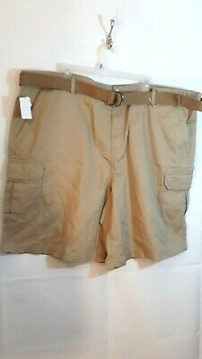 58ddb5206a Men's Big Tall Cargo Shorts Size 48 with belt Beige Khaki Shorts 6 pockets