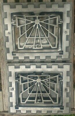 """Antique salvaged cast Iron heat registers LOT OF 2 early 1900s 11.5""""x9.75"""""""
