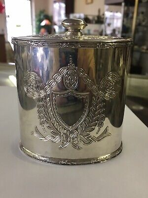 GREAT BARKER ELLIS Ornate REPOUSSE Silver on Copper Tea CaddyENGLAND