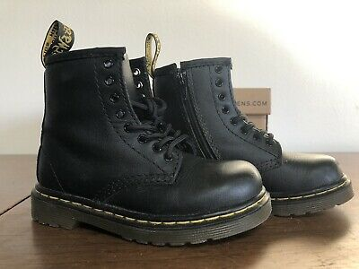 354e6b9a3cfd Dr. Martens Brooklee Matte Leather Military combat Boot, Black Kids Toddler  8