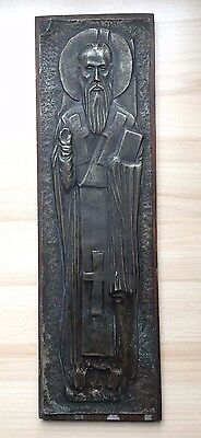 Vintage Collectible Brass & Wood Icon Clement of Ohrid Gospel Saints Marked