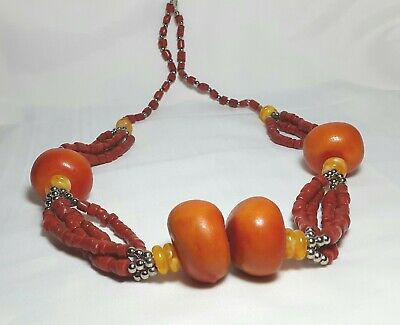 Moroccan Vintage Amber necklace African,berber/Handcrafted Jewelry,strand Amber