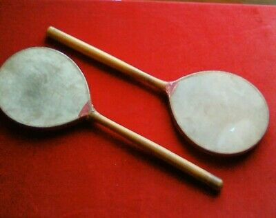 pair antique Ping pong table tennis bats paddles vellum 16 inches long