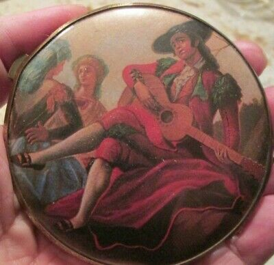 Victorian Style Ladies Vintage Brass Cosmetic Compact Mirror