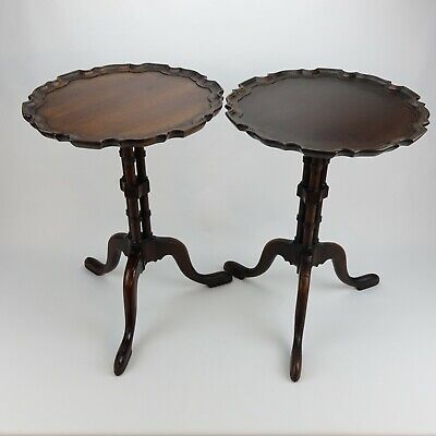 Pair of Antique Mahogany Revival Tea Tables by The Company of Master Craftsmen