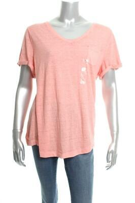 New Women's Style Co V-Neck Burnout Pocket Tee Coral Bliss Large