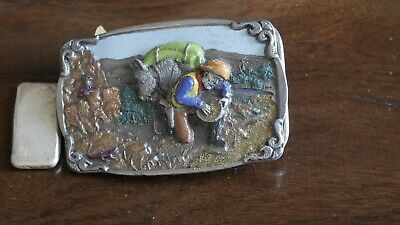 Vintage Pewter Belt Buckle-Miner-Hand Painted Acrylic-1984 Hand Made in USA