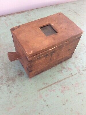 Antique Primitive Handmade Wood Bee Hunting Box Apiary Beekeeping with Handle