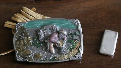 Vintage Pewter Belt Buckle-Gold Miner-Hand Painted Acrylic-1984 Hand Made in USA