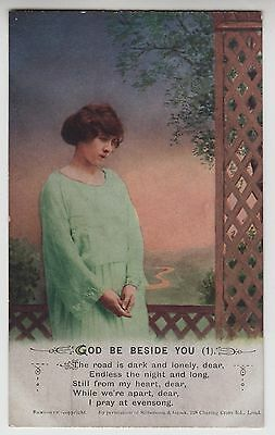 """POSTCARD - Bamforth Song Card """"God Be Beside You (1)"""" soldier sweetheart #5049/1"""
