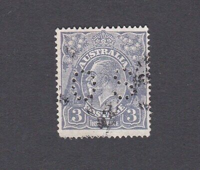 Australia 1926 3d BLUE KGV small multi watermark PERF 14 perf punctured OS used