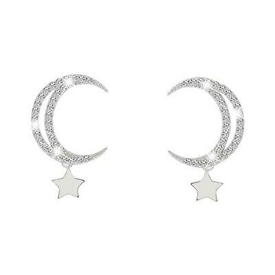 18k white yellow gold gf stud made with SWAROVSKI crystal earrings moon star