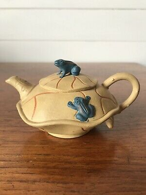 Vintage Chinese Small Yixing Clay Teapot Hand Painted Frogs Stamped To Base