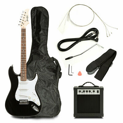 39'' Full Size Black Electric Guitar Beginner w/Accessories Pack,15W AMP,Case