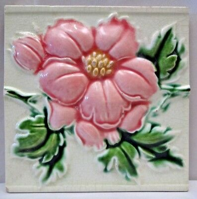 Majolica Tile Vintage Art Nouveau Ceramic Glazed Saji Japan Embossed Rose #464