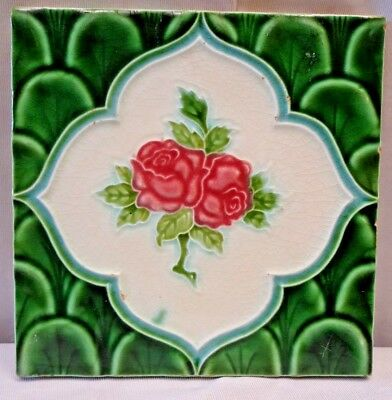 Tile Majolica Japan Red Rose Vintage Art Nouveau Ceramic Porcelain Collectib#239