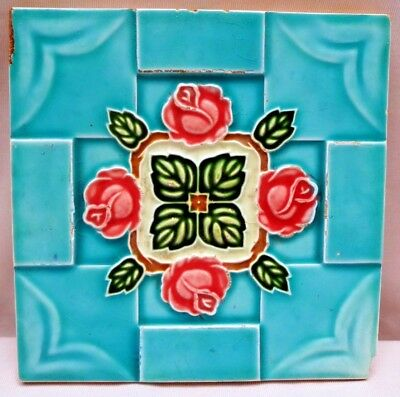 Tile Vintage Japan Saji Tile Works Ceramic Majolica Art Nouveau Rose Design #207