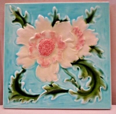 Majolica Tile Vintage Art Nouveau Ceramic Glazed England H&R Johnson Ltd Old#463