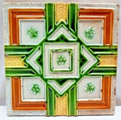 Tile Vintage Geometric Design Porcelain Ceramic Majolica Art Nouveau Collect#206