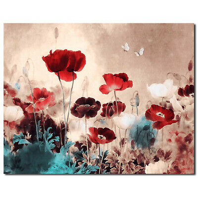 Flower Abstract Canvas Print Art Oil Painting Frameless Wall Picture Home WRG