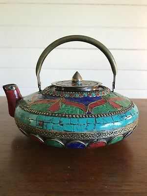 Vintage Asian Brass and Stone Inlaid Artisan Large Teapot Moroccan Malachite