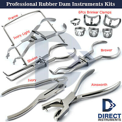 Professional X4 Rubber Dam Sets Clamps Forceps Frame Dental Instruments Kits New